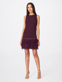 Front View of Women's Feather Trim Purple Dress Sleeveless | Tahari ASL Aubergine