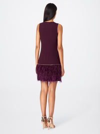Back View of Women's Feather Trim Purple Dress Sleeveless | Tahari ASL Aubergine