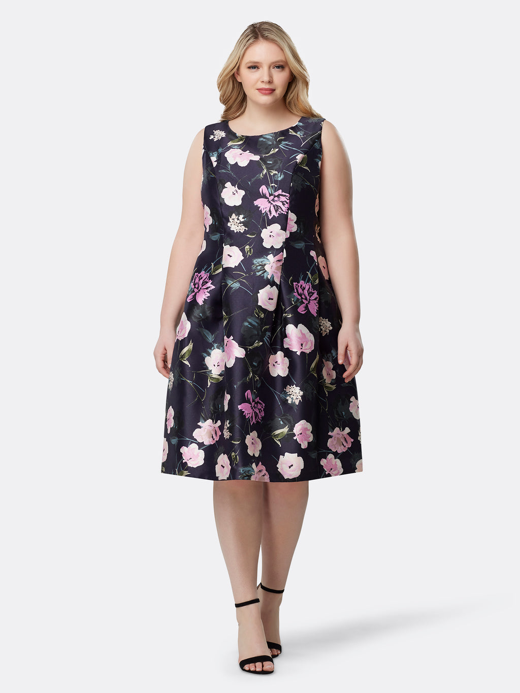 Floral Mikado Fit-And-Flare Midi Dress