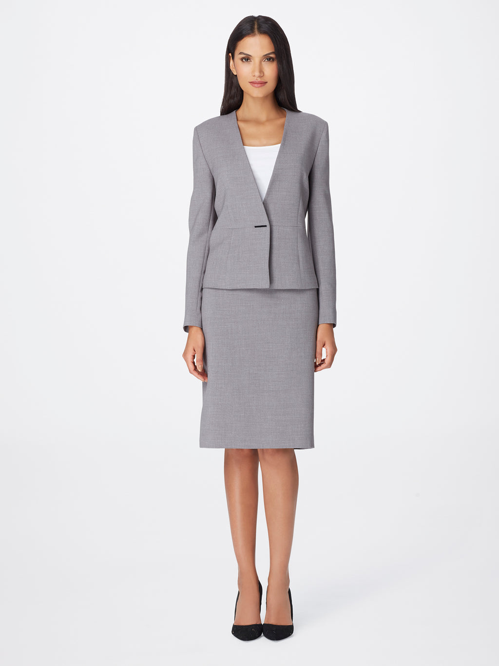 Bi-Stretch Peplum Skirt Suit