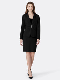 Front View of Women's Luxury Seamed Jacket and Skirt Set in Black by Tahari ASL Black
