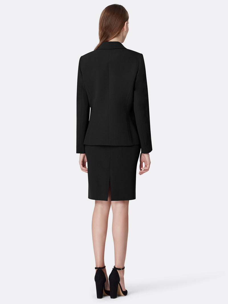 Back View of Women's Luxury Seamed Jacket and Skirt Set in Black by Tahari ASL Black