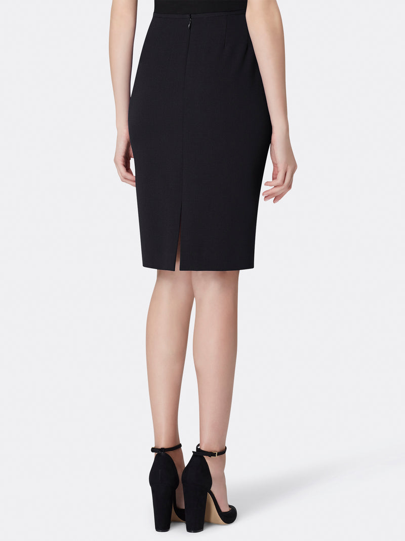 Back View of Women's Luxury Black Pencil Skirt by Tahari ASL Black