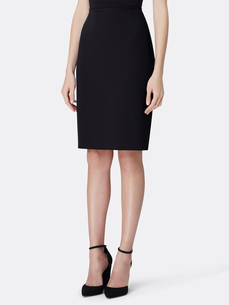 Front View of Women's Luxury Black Pencil Skirt by Tahari ASL Black