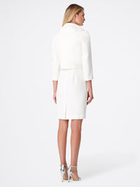Envelope-Collar Double-Weave Jacket Dress