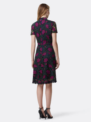 Floral Chemical Lace Fit-And-Flare Dress
