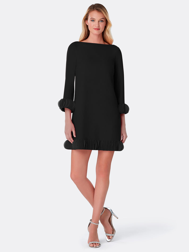 Ruffled Chiffon/Crepe Shift Dress