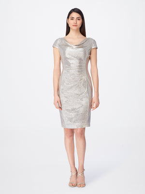 Metallic Cap-Sleeve Ruched Dress