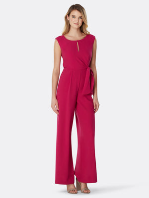 Sleeveless Side-Tie Crepe Jumpsuit