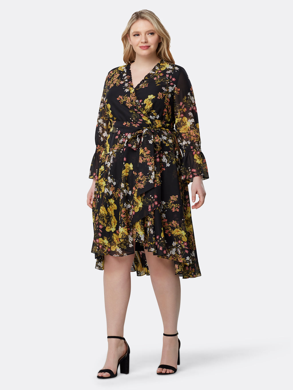 Faux-Wrap Vintage Floral Chiffon Dress