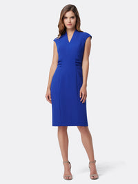 Cap-Sleeve Stretch Crepe Sheath Dress