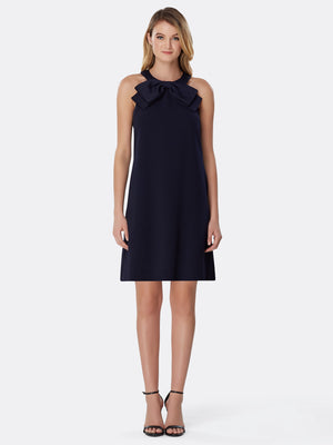 Bow-Detail Halter-Neck Shift Dress