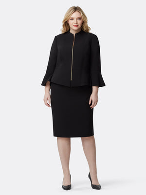 Ruffle-Cuff Pebble Crepe Skirt Suit