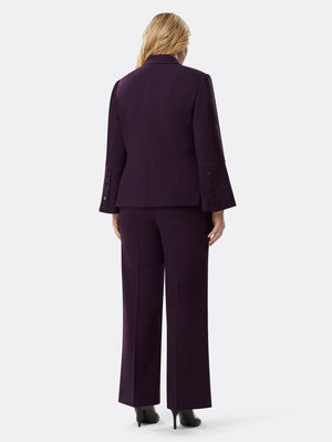 Flared-Sleeve Stretch Pebble Pantsuit