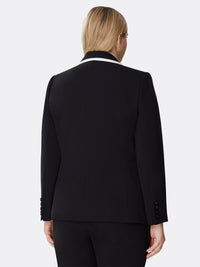 Contrast-Edged Pebble Crepe Jacket