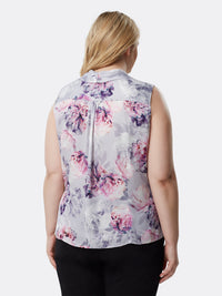 Floral Charmeuse Sleeveless Top
