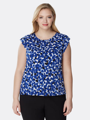 Front View of Women's Pleated Capped Short Sleeve Designer Top in Blue Shades | Tahari ASL Cobalt / Ivory