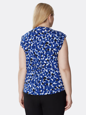 Back View of Women's Pleated Capped Short Sleeve Designer Top in Blue Shades | Tahari ASL Cobalt / Ivory