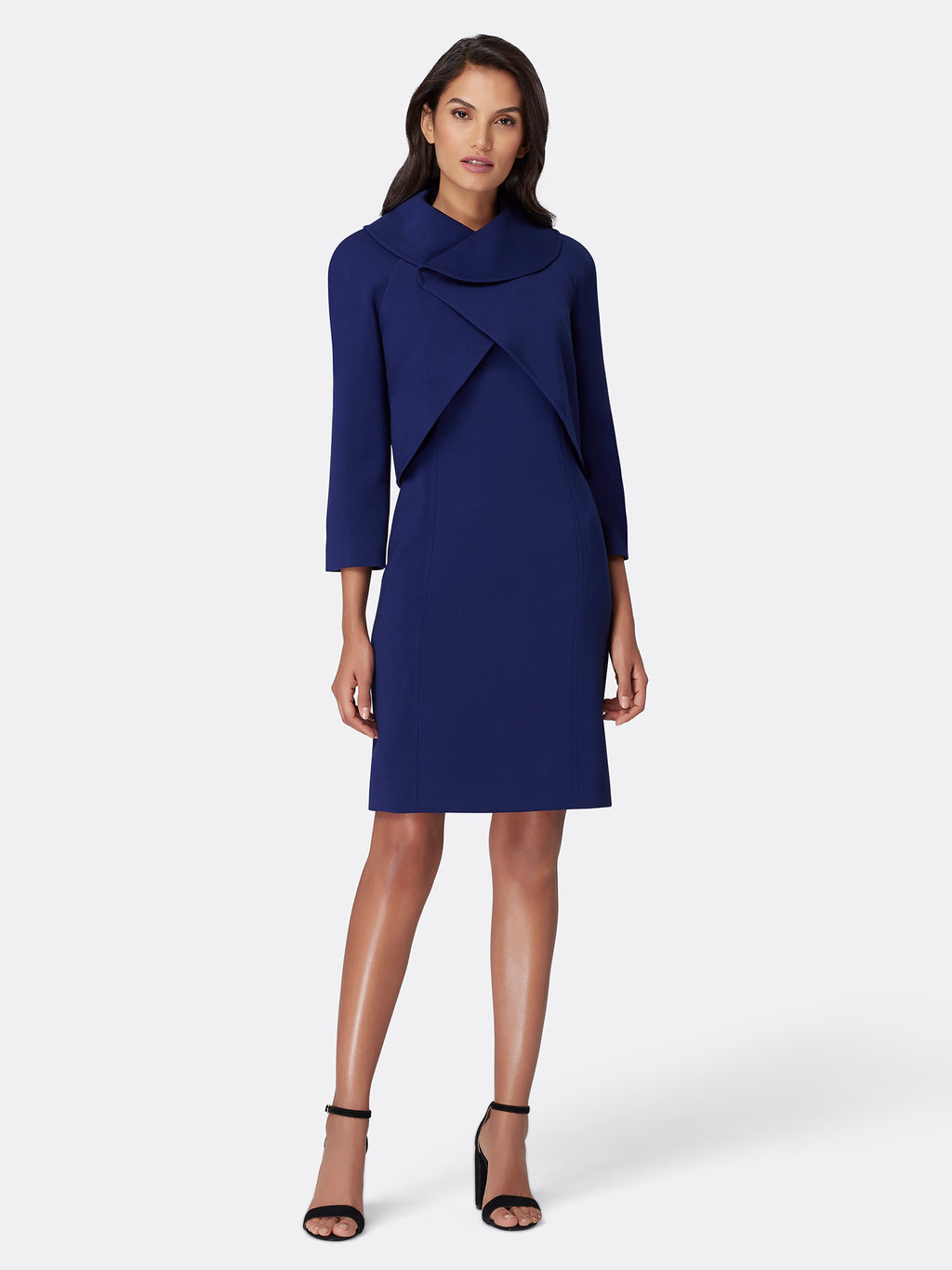 Fold-Over Collar Double-Weave Jacket Dress