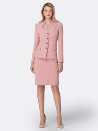 Pleated Stand-Collar Crepe Skirt Suit