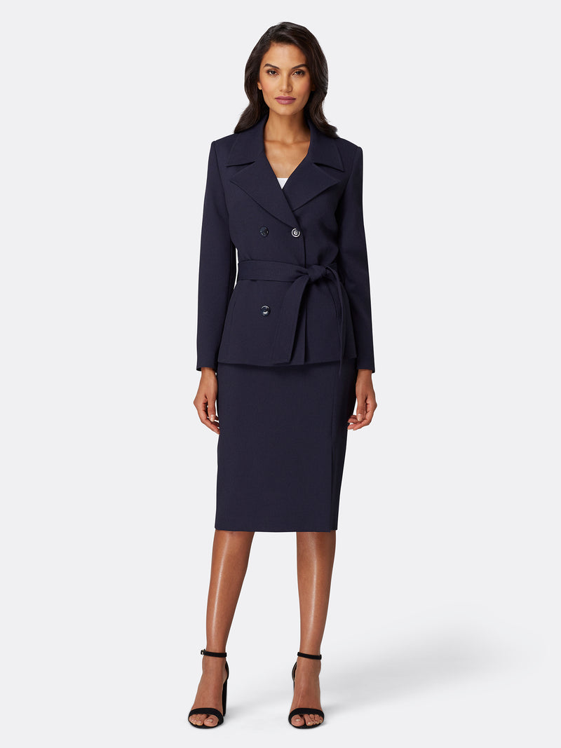 Double-Breasted Trench-Style Skirt Suit
