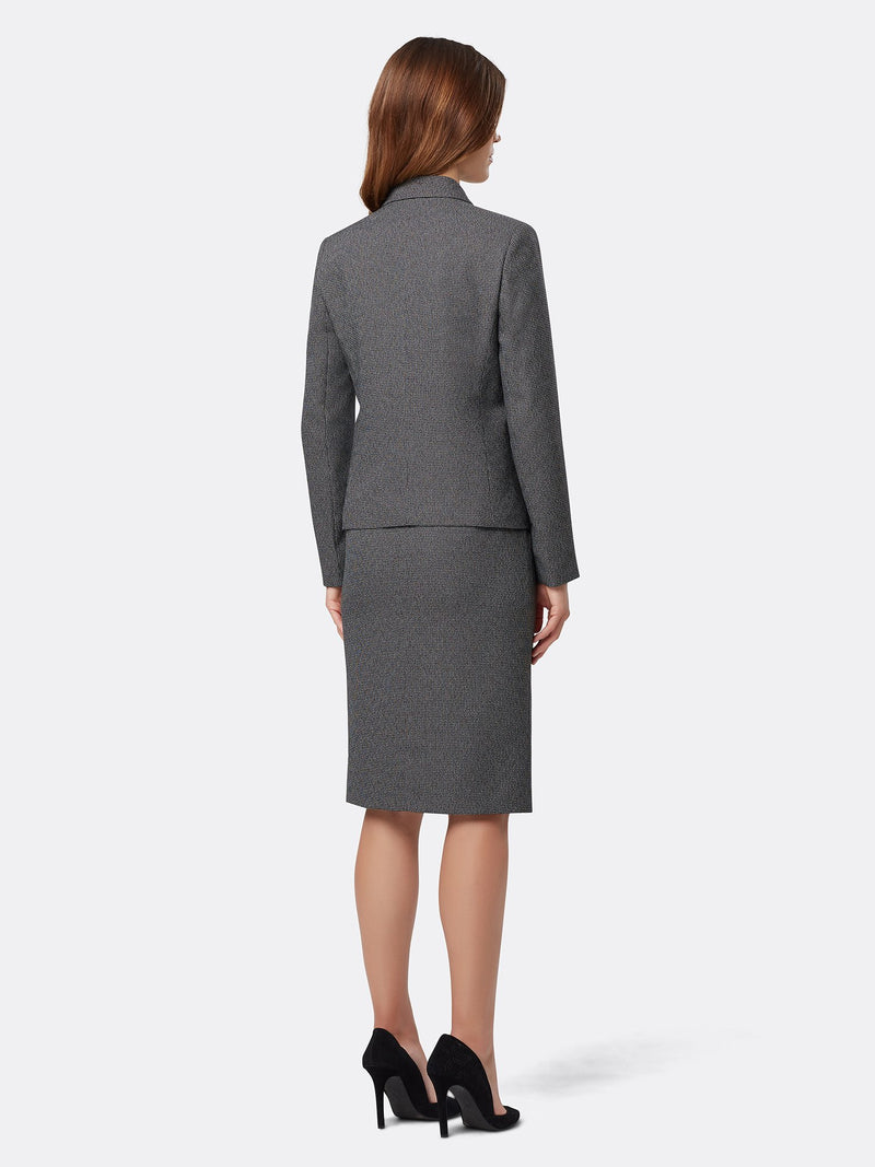 Back View of Women's Luxury Grey Double Breasted Jacket and Skirt Suit Set by Tahari ASL BLACK/WHITE