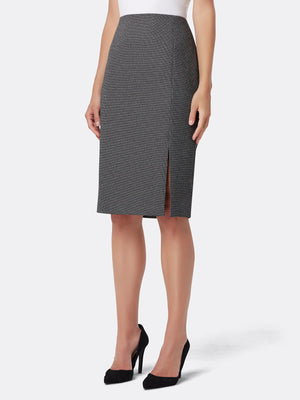 Front View of Women's Luxury Grey Designer Skirt by Tahari ASL BLACK/WHITE