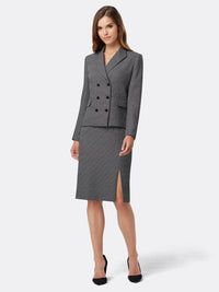 Front View of Women's Luxury Grey Double Breasted Jacket and Skirt Suit Set by Tahari ASL BLACK/WHITE