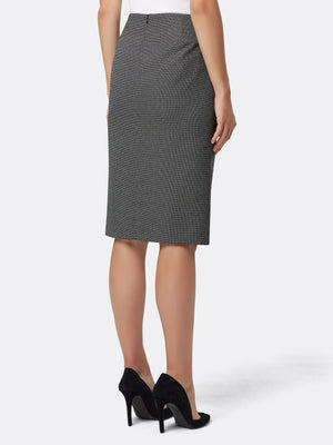 Back View of Women's Luxury Grey Designer Skirt by Tahari ASL BLACK/WHITE