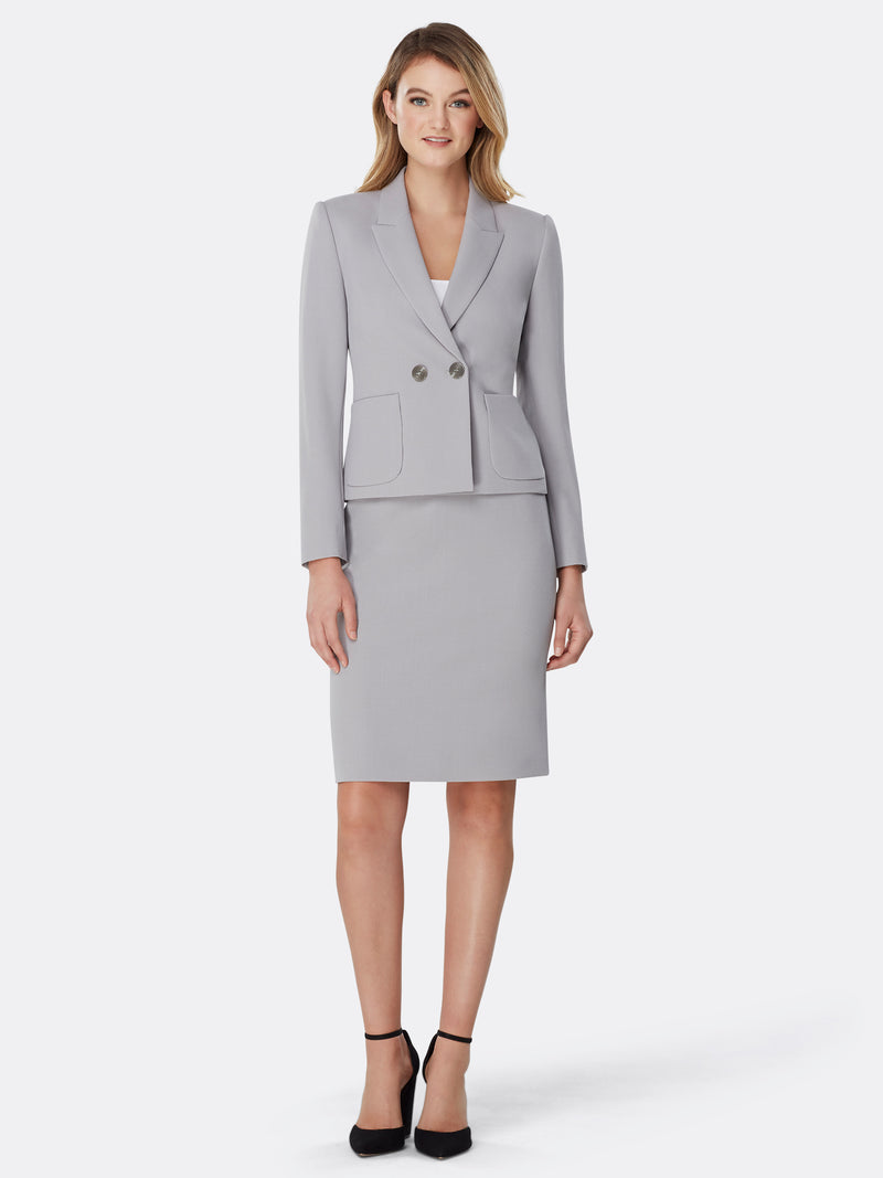 Double-Breasted Patch Pocket Crepe Skirt Suit