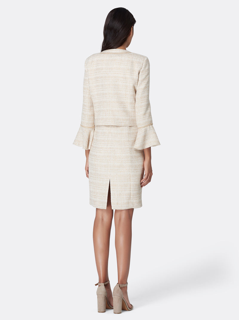 Metallic Bouclé Tweed Ruffle-Sleeve Jacket Dress