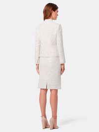 Stand-Collar Patch Pocket Bouclé Skirt Suit