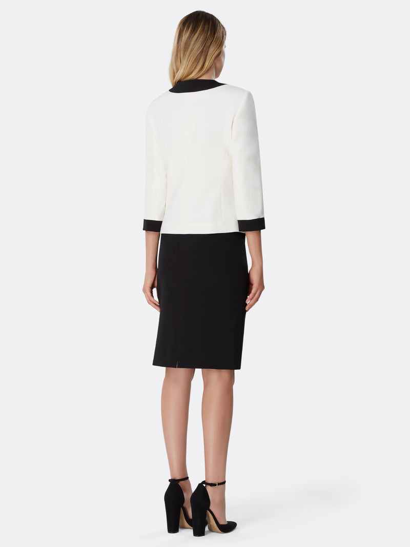 Contrast-Framed Crepe Skirt Suit