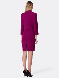 Back View of the Luxury Magenta Wrap Jacket and Dress Set Magenta