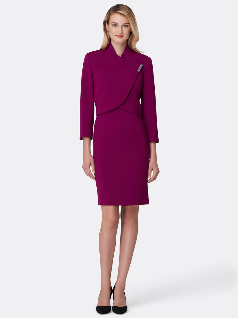 Woman Wearing the Luxury Magenta Wrap Jacket and Dress Set Magenta