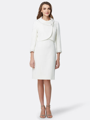 Front View of Women's Luxury Wrap Pearl Trim Jacket and Dress in Ivory White | Tahari ASL