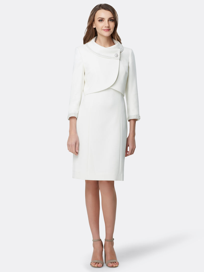 Jacket Dress With Pearl-Trimmed Cropped Sleeves  Tahari ASL