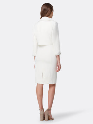 Back View of Women's Luxury Wrap Pearl Trim Jacket and Dress in Ivory White | Tahari ASL Ivory