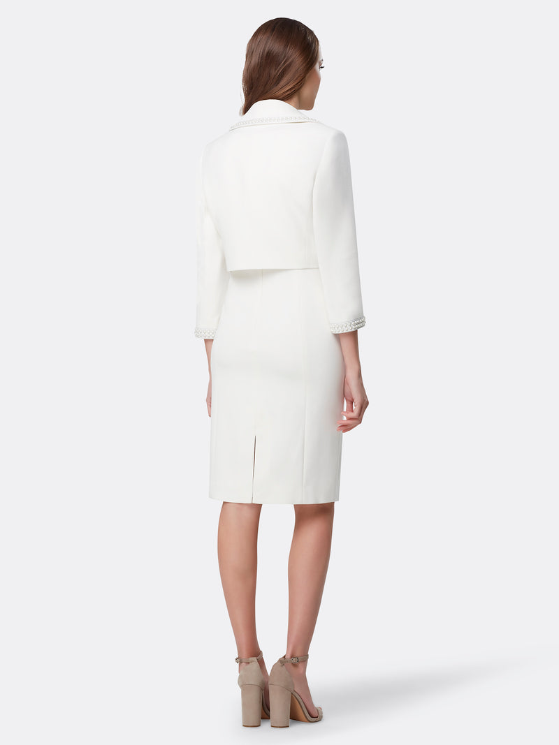 Back View of Women's Luxury Wrap Pearl Trim Jacket and Dress in Ivory White | Tahari ASL