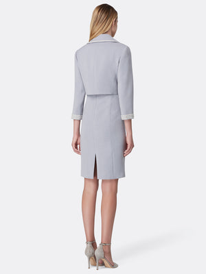 Back View of Women's Luxury Wrap Pearl Trim Jacket and Dress in Silver Grey | Tahari ASL Silver Grey