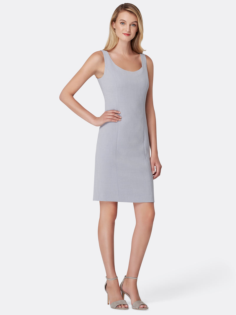 Front View of Women's Silver Grey Designer Dress Sleeveless | Tahari ASL Silver Grey