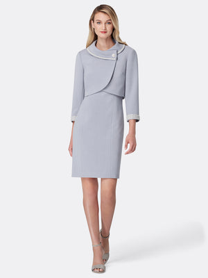 Front View of Women's Luxury Wrap Pearl Trim Jacket and Dress in Silver Grey | Tahari ASL Silver Grey