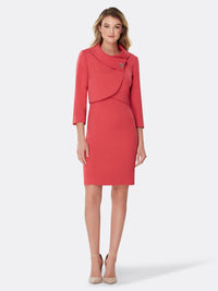 Envelope Collar Double-Weave Jacket Dress