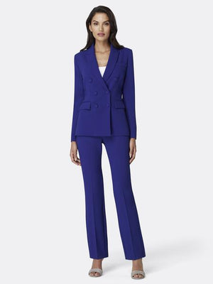 Double-Breasted Pebble Crepe Pantsuit