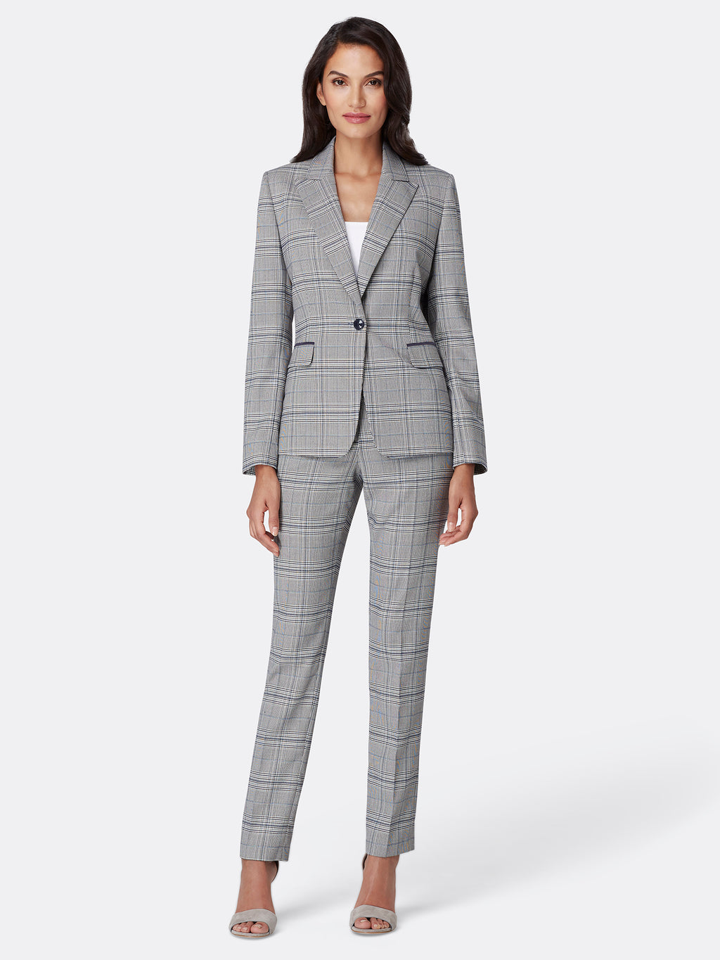 Plaid One Button Pant Suit
