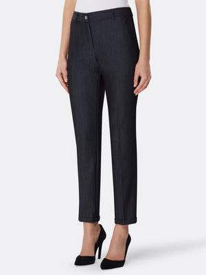 Front View of Women's Luxury Slim Leg Black Pant by Tahari ASL BLUE INDIGO