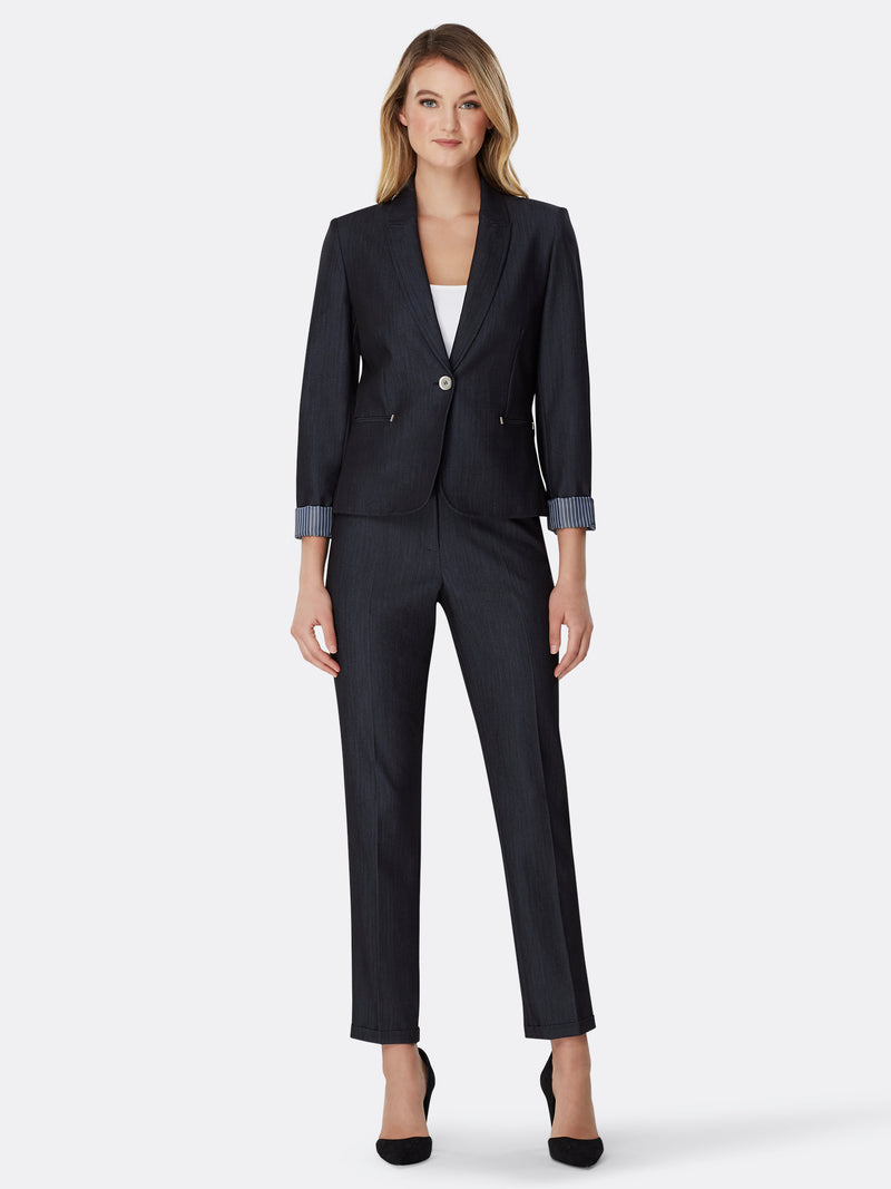 Front View of Women's Luxury One Button Jacket and Pant Suit Set in Black by Tahari ASL BLUE INDIGO
