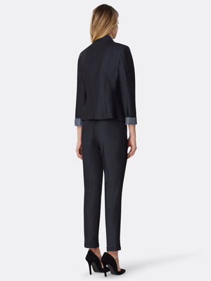 Back View of Women's Luxury One Button Jacket and Pant Suit Set in Black by Tahari ASL BLUE INDIGO