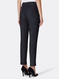 Back View of Women's Luxury Slim Leg Black Pant by Tahari ASL BLUE INDIGO