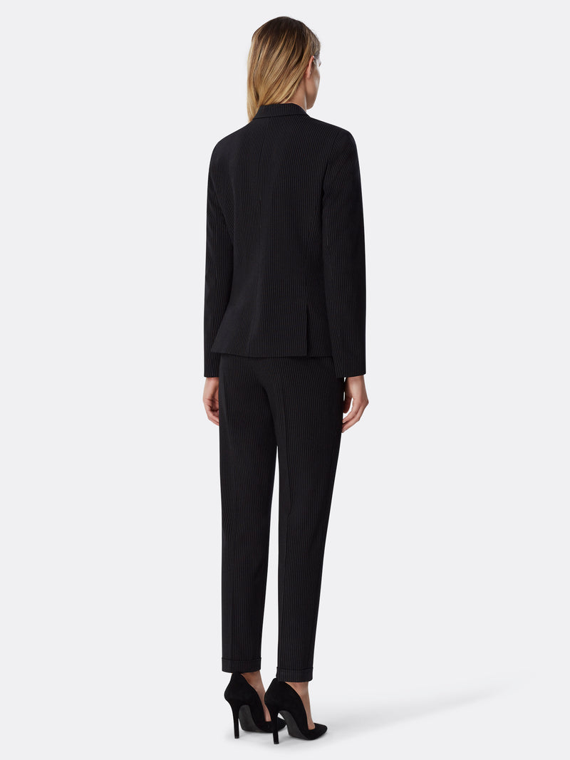 Pinstriped One-Button Pantsuit